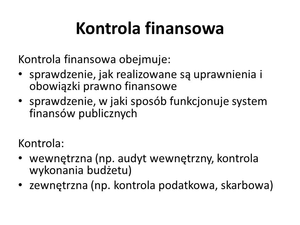 Kontrola finansowa Kontrola finansowa obejmuje: sprawdzenie, jak realizowane są uprawnienia i obowiązki prawno finansowe sprawdzenie, w jaki sposób funkcjonuje system finansów publicznych Kontrola: wewnętrzna (np.