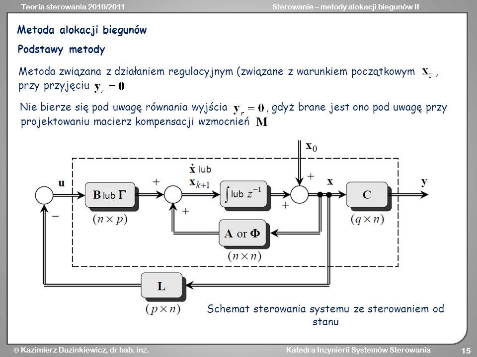 Teoria sterowania 2010/2011Sterowanie – metody alokacji biegunów II Kazimierz Duzinkiewicz, dr hab. in ż. Katedra In ż ynierii Systemów Sterowania 15