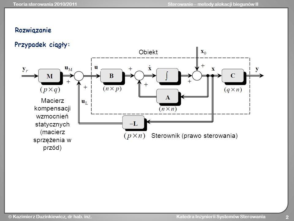 Teoria sterowania 2010/2011Sterowanie – metody alokacji biegunów II Kazimierz Duzinkiewicz, dr hab. in ż. Katedra In ż ynierii Systemów Sterowania 2 O