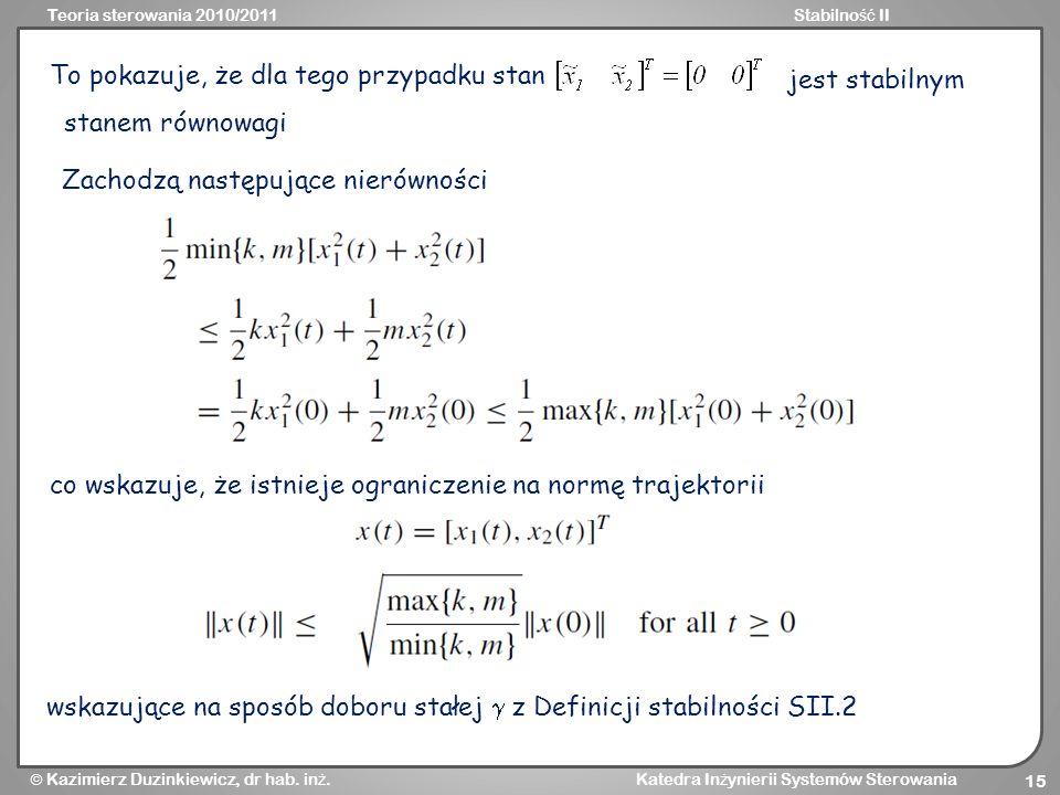 Teoria sterowania 2010/2011Stabilno ść II Kazimierz Duzinkiewicz, dr hab. in ż. Katedra In ż ynierii Systemów Sterowania 15 To pokazuje, że dla tego p