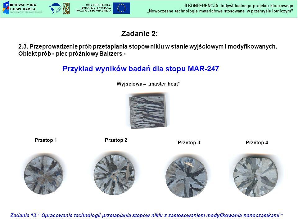 Zadanie 13: Opracowanie technologii przetapiania stopów niklu z zastosowaniem modyfikowania nanocząstkami Wyjściowa – master heat Przetop 1Przetop 2 P