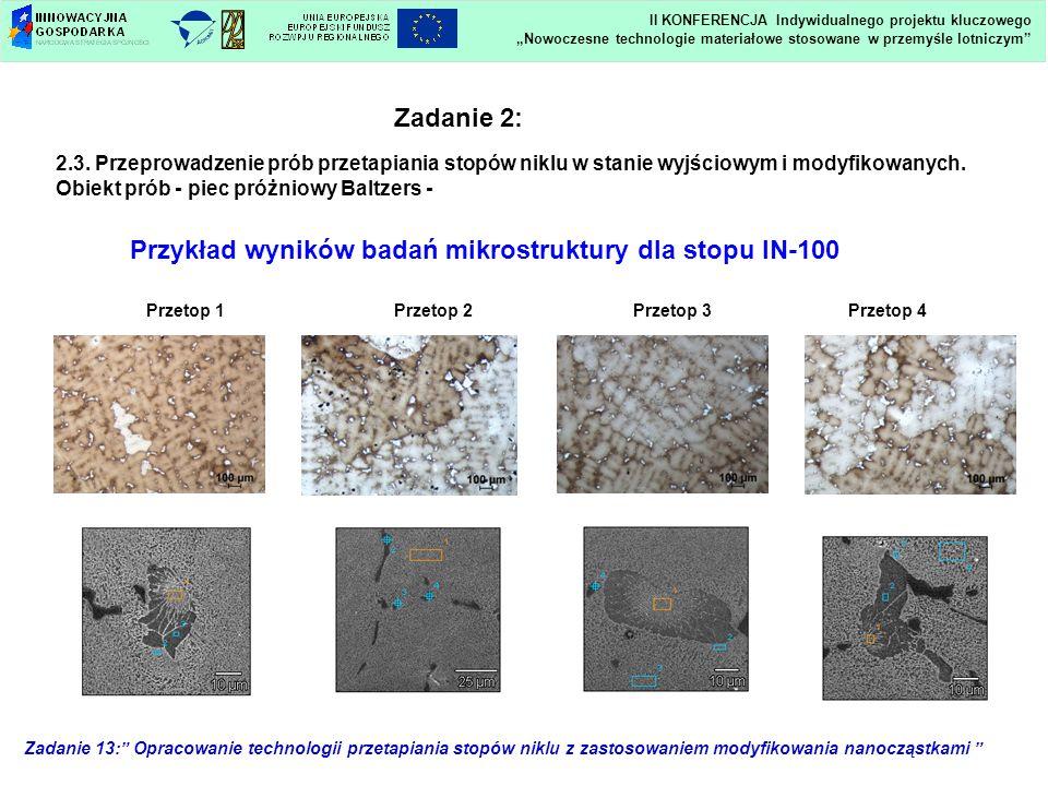 Zadanie 13: Opracowanie technologii przetapiania stopów niklu z zastosowaniem modyfikowania nanocząstkami Przetop 1Przetop 2Przetop 4Przetop 3 Zadanie