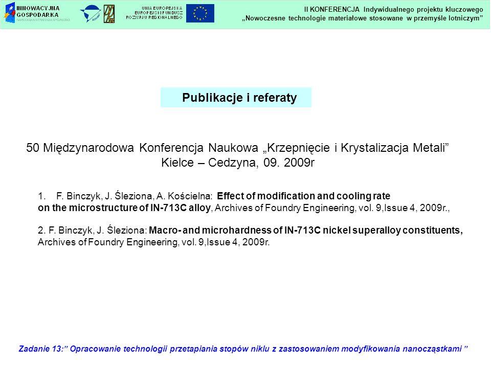 Zadanie 13: Opracowanie technologii przetapiania stopów niklu z zastosowaniem modyfikowania nanocząstkami Publikacje i referaty 50 Międzynarodowa Konf