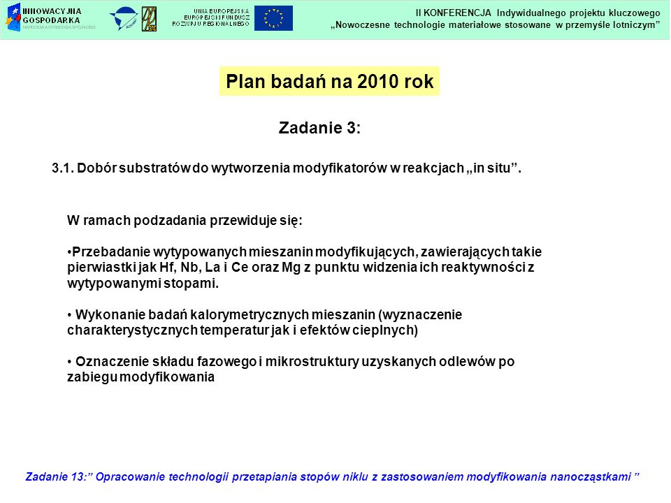 Zadanie 13: Opracowanie technologii przetapiania stopów niklu z zastosowaniem modyfikowania nanocząstkami Plan badań na 2010 rok Zadanie 3: 3.1. Dobór