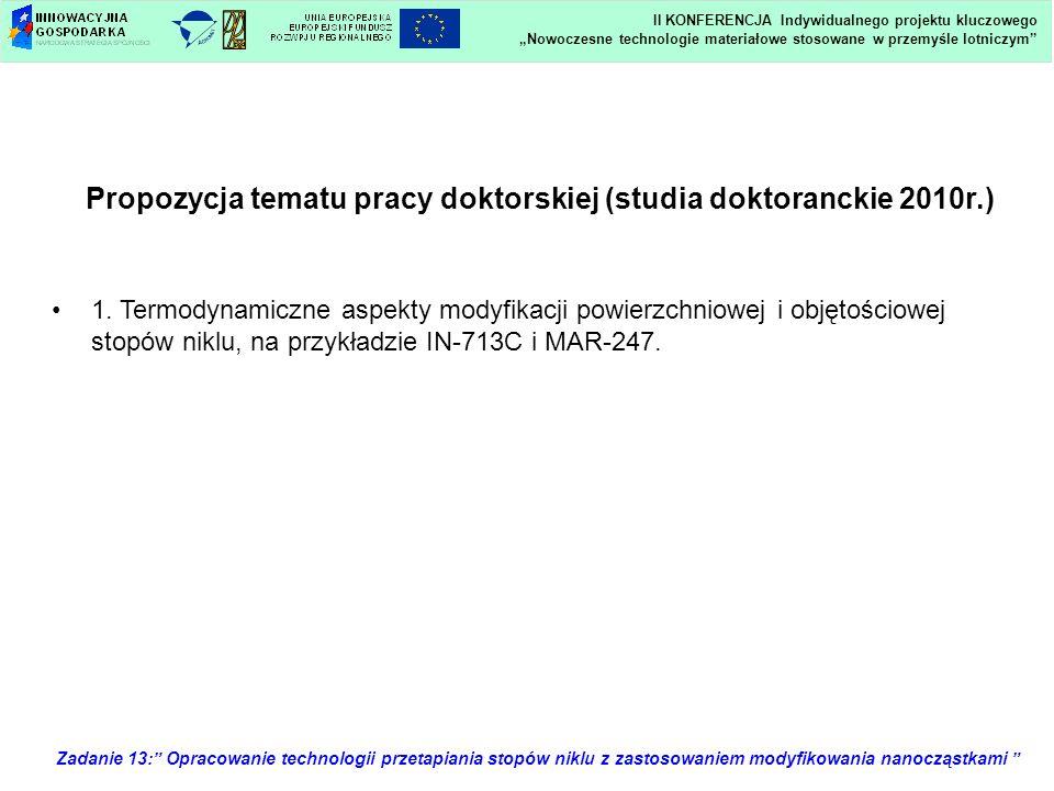 Propozycja tematu pracy doktorskiej (studia doktoranckie 2010r.) 1. Termodynamiczne aspekty modyfikacji powierzchniowej i objętościowej stopów niklu,