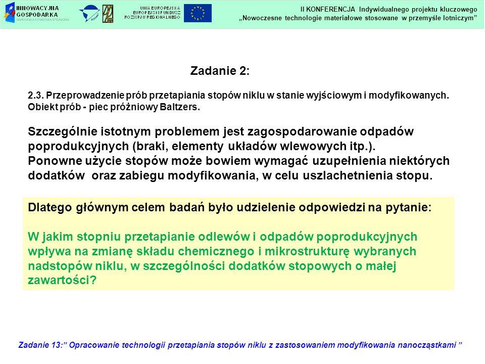Zadanie 13: Opracowanie technologii przetapiania stopów niklu z zastosowaniem modyfikowania nanocząstkami Zadanie 2: 2.3. Przeprowadzenie prób przetap
