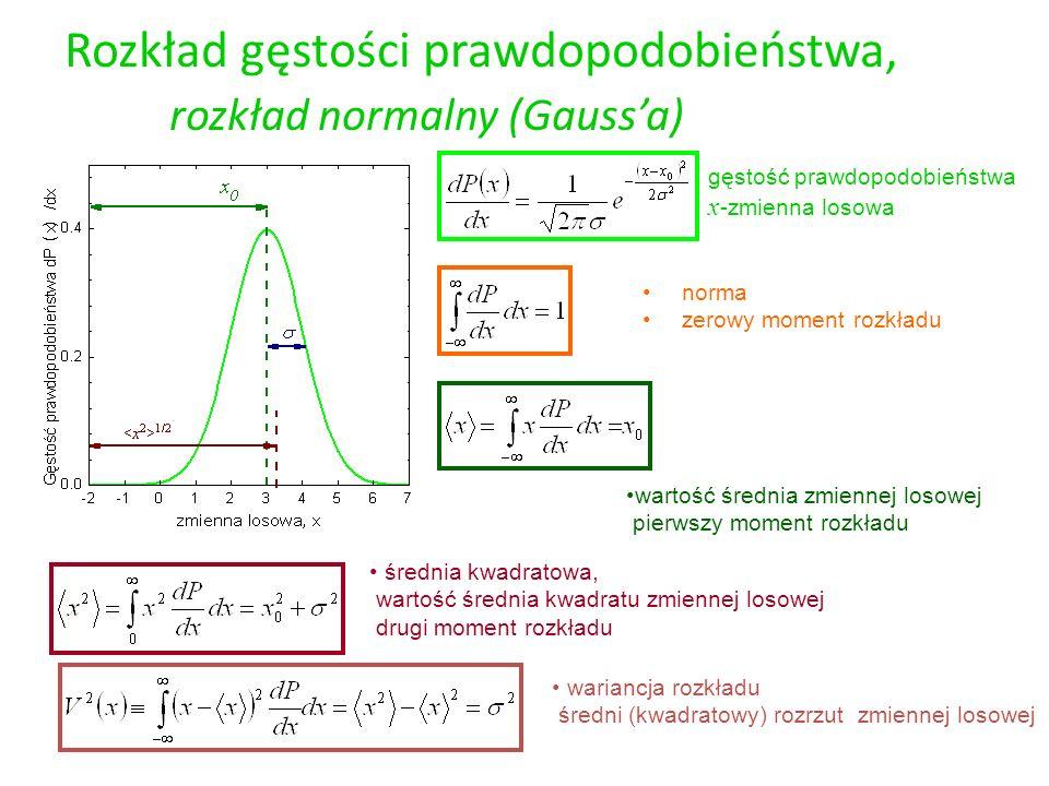 Rozkład gęstości prawdopodobieństwa, rozkład normalny (Gaussa) gęstość prawdopodobieństwa x -zmienna losowa wartość średnia zmiennej losowej pierwszy
