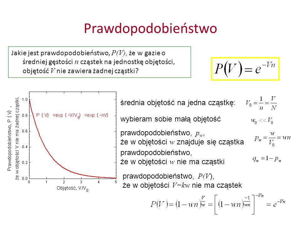 Prawdopodobieństwo Jakie jest prawdopodobieństwo, P(V), że w gazie o średniej gęstości n cząstek na jednostkę objętości, objętość V nie zawiera żadnej