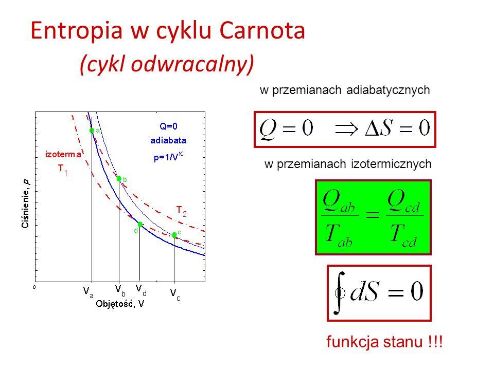 Entropia w cyklu Carnota (cykl odwracalny) w przemianach adiabatycznych w przemianach izotermicznych funkcja stanu !!!