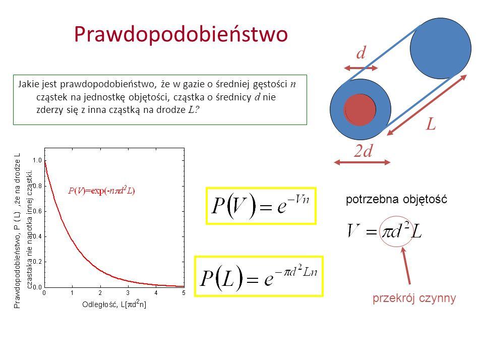 Prawdopodobieństwo Jakie jest prawdopodobieństwo, że w gazie o średniej gęstości n cząstek na jednostkę objętości, cząstka o średnicy d nie zderzy się