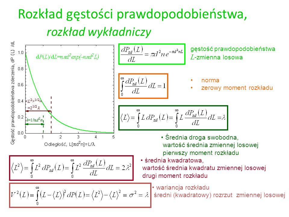 Rozkład gęstości prawdopodobieństwa, rozkład normalny (Gaussa) gęstość prawdopodobieństwa x -zmienna losowa wartość średnia zmiennej losowej pierwszy moment rozkładu norma zerowy moment rozkładu średnia kwadratowa, wartość średnia kwadratu zmiennej losowej drugi moment rozkładu wariancja rozkładu średni (kwadratowy) rozrzut zmiennej losowej