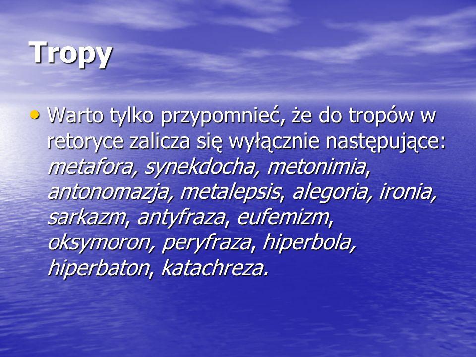 Tropy Warto tylko przypomnieć, że do tropów w retoryce zalicza się wyłącznie następujące: metafora, synekdocha, metonimia, antonomazja, metalepsis, al