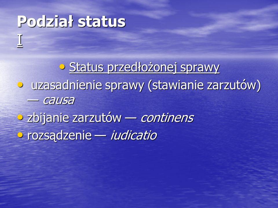 Podział status I Status przedłożonej sprawy Status przedłożonej sprawy uzasadnienie sprawy (stawianie zarzutów) causa uzasadnienie sprawy (stawianie z