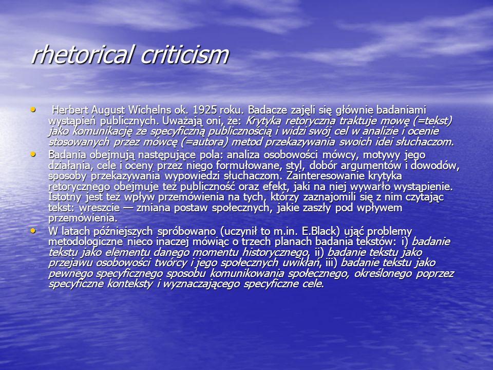 rhetorical criticism Herbert August Wichelns ok. 1925 roku. Badacze zajęli się głównie badaniami wystąpień publicznych. Uważają oni, że: Krytyka retor