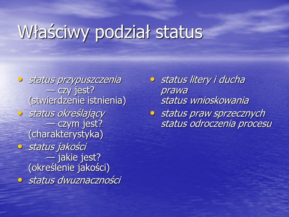 Właściwy podział status status przypuszczenia czy jest? (stwierdzenie istnienia) status przypuszczenia czy jest? (stwierdzenie istnienia) status okreś