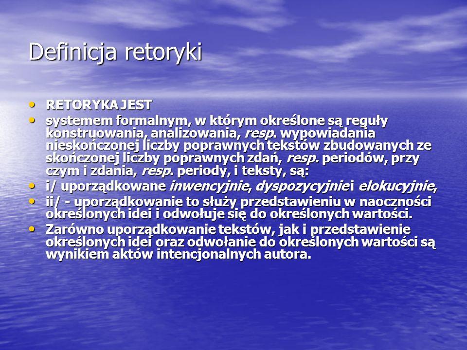Definicja retoryki RETORYKA JEST RETORYKA JEST systemem formalnym, w którym określone są reguły konstruowania, analizowania, resp. wypowiadania niesko