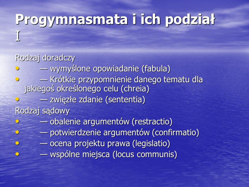 Progymnasmata i ich podział II Rodzaj okolicznościowy (=pochwalny) pochwała (laus) pochwała (laus) nagana (vituperatio) nagana (vituperatio) porównanie (comparatio) porównanie (comparatio) przedstawienie charakterów (ethopoeia) przedstawienie charakterów (ethopoeia) Wspólne wszystkim rodzajom są: opis (descriptio) opis (descriptio) małe opowiadanie (narratio) małe opowiadanie (narratio) Wspólna rodzajom doradczemu i okolicznościowemu jest: ocena danego problemu (thesis) ocena danego problemu (thesis)