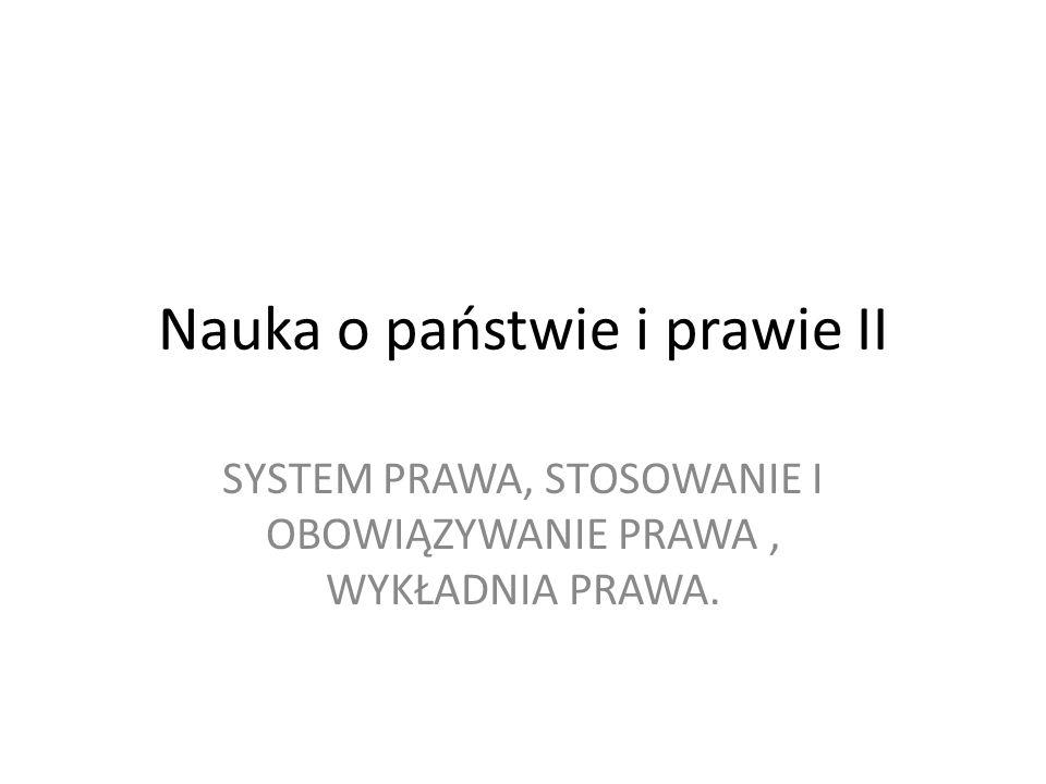 SYSTEM PRAWA Całokształt obowiązujących w danym państwie norm prawnych powiązanych hierarchicznie i treściowo.