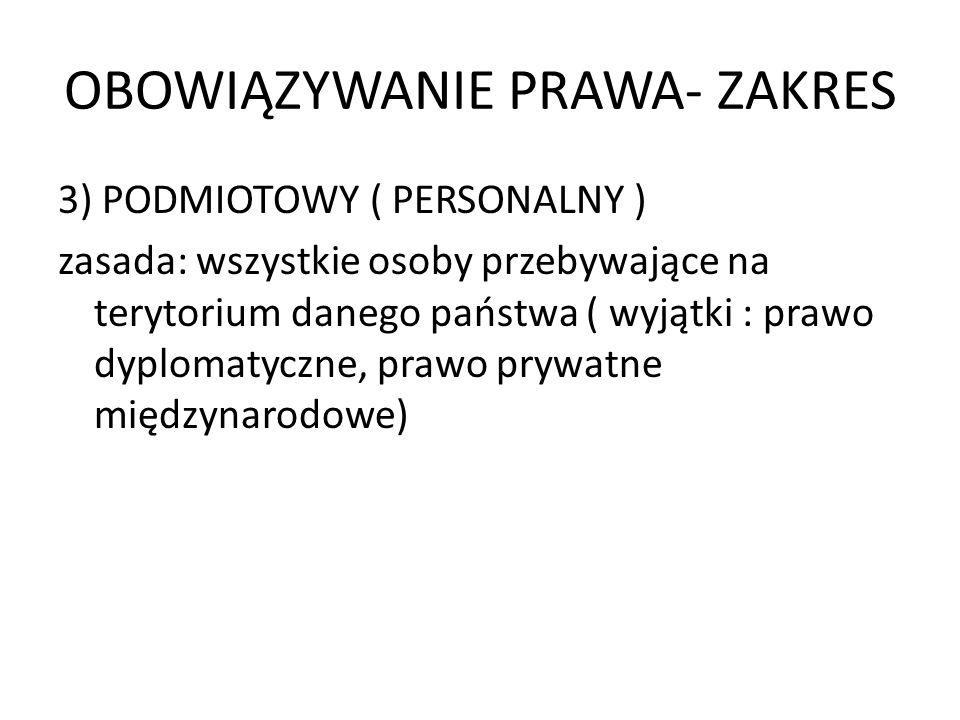 OBOWIĄZYWANIE PRAWA- ZAKRES 3) PODMIOTOWY ( PERSONALNY ) zasada: wszystkie osoby przebywające na terytorium danego państwa ( wyjątki : prawo dyplomaty