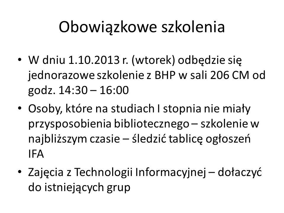Przedstawiciele studentów Wybór starosty roku i przedstawicieli grup (kontakt tel./mailowy do nich) – do czwartku 3.10.!!.