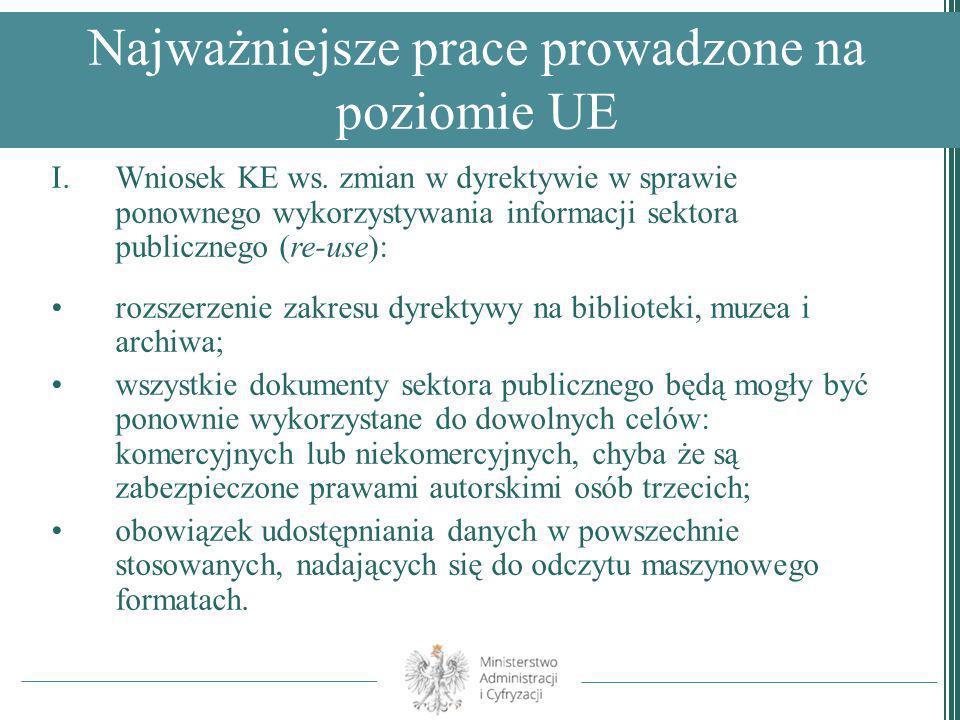 Najważniejsze prace prowadzone na poziomie UE I.Wniosek KE ws. zmian w dyrektywie w sprawie ponownego wykorzystywania informacji sektora publicznego (