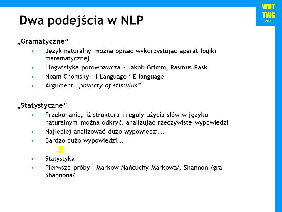 WUT TWG 2005 Dwa podejścia w NLP Gramatyczne Język naturalny można opisać wykorzystując aparat logiki matematycznej Lingwistyka porównawcza – Jakob Gr