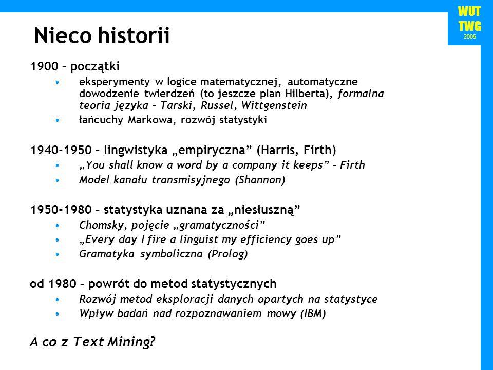 WUT TWG 2005 Nieco historii 1900 – początki eksperymenty w logice matematycznej, automatyczne dowodzenie twierdzeń (to jeszcze plan Hilberta), formaln