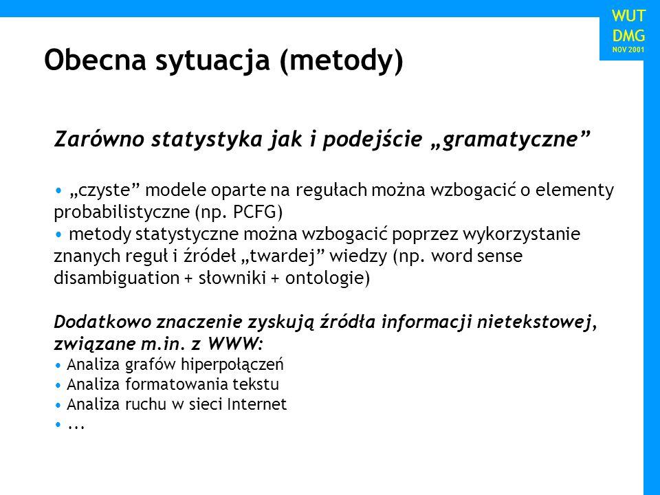 WUT TWG 2005 Obecna sytuacja (metody) WUT DMG NOV 2001 Zarówno statystyka jak i podejście gramatyczne czyste modele oparte na regułach można wzbogacić