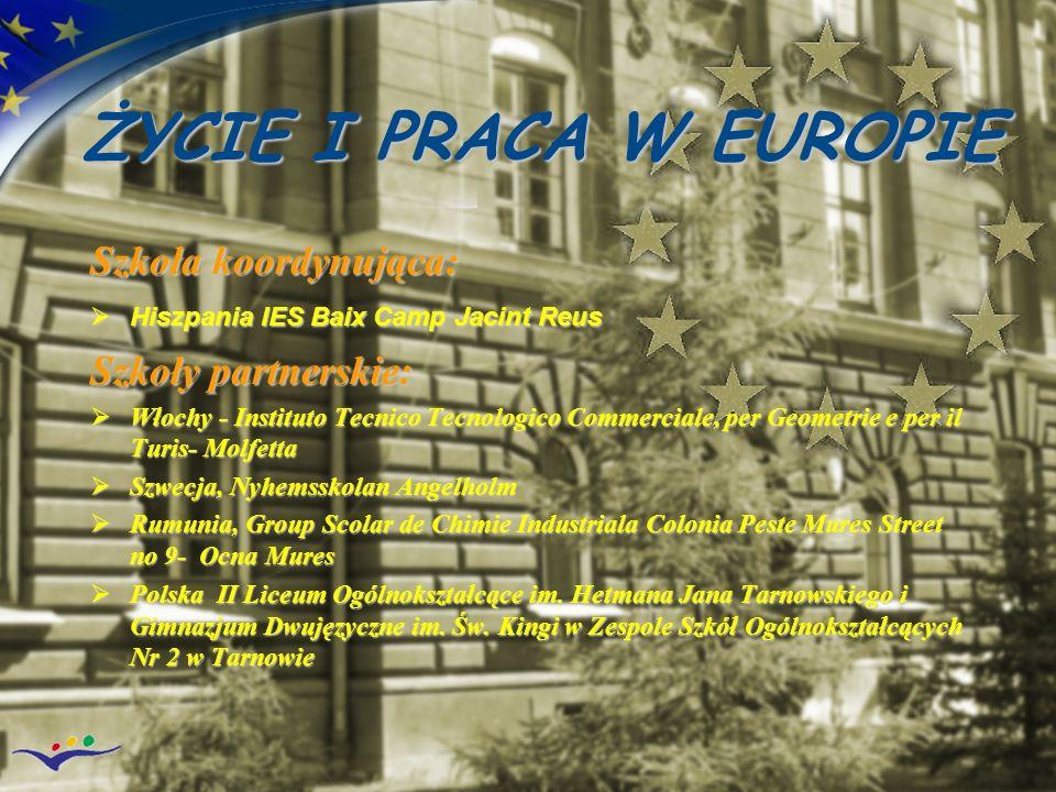 ŻYCIE I PRACA W EUROPIE Szkoła koordynująca: Hiszpania IES Baix Camp Jacint Reus Hiszpania IES Baix Camp Jacint Reus Szkoły partnerskie: Włochy - Inst