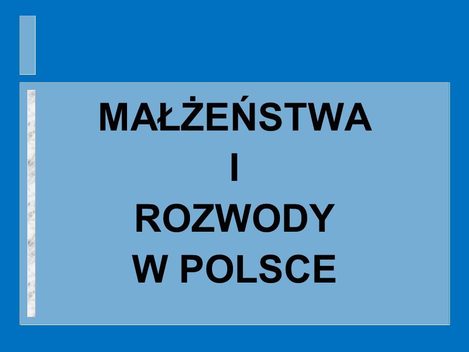 MAŁŻEŃSTWA I ROZWODY W POLSCE