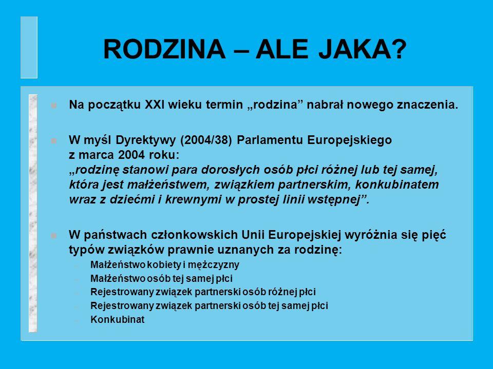 RODZINA – ALE JAKA? n Na początku XXI wieku termin rodzina nabrał nowego znaczenia. n W myśl Dyrektywy (2004/38) Parlamentu Europejskiego z marca 2004
