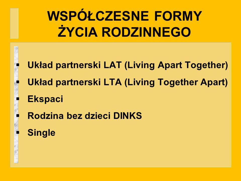 WSPÓŁCZESNE FORMY ŻYCIA RODZINNEGO Układ partnerski LAT (Living Apart Together) Układ partnerski LTA (Living Together Apart) Ekspaci Rodzina bez dziec