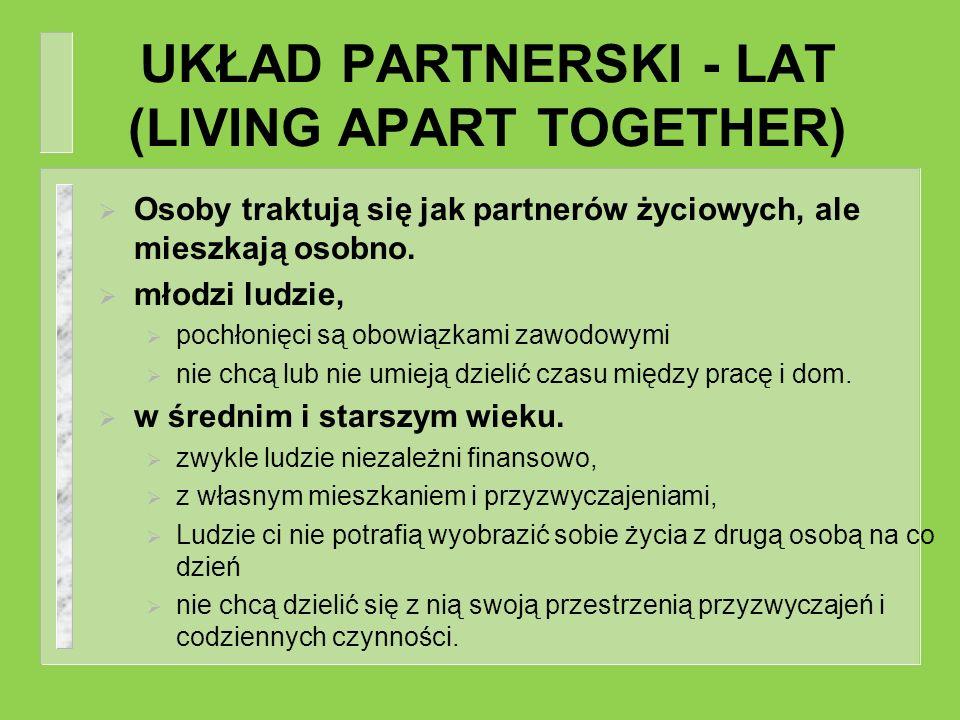 UKŁAD PARTNERSKI - LAT (LIVING APART TOGETHER) Osoby traktują się jak partnerów życiowych, ale mieszkają osobno. młodzi ludzie, pochłonięci są obowiąz