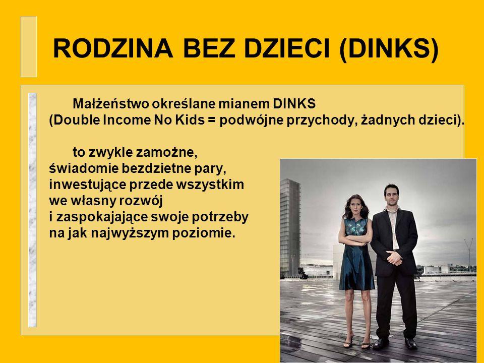 RODZINA BEZ DZIECI (DINKS) Małżeństwo określane mianem DINKS (Double Income No Kids = podwójne przychody, żadnych dzieci). to zwykle zamożne, świadomi