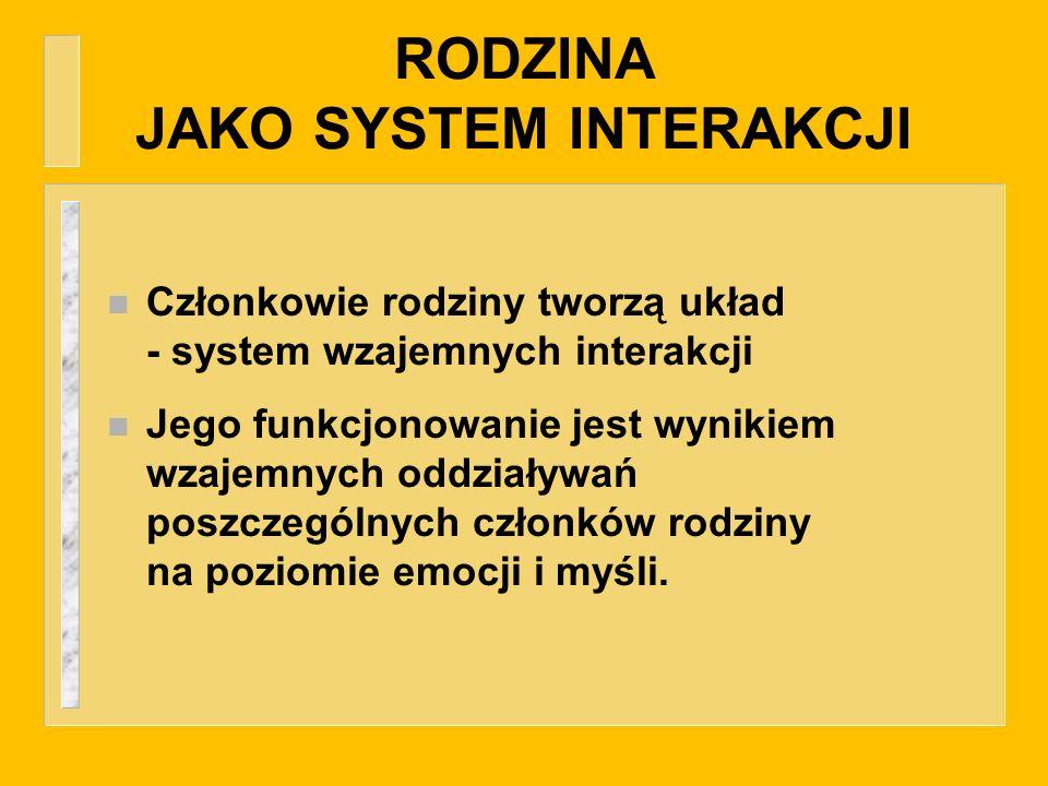 RODZINA JAKO SYSTEM INTERAKCJI n Członkowie rodziny tworzą układ - system wzajemnych interakcji n Jego funkcjonowanie jest wynikiem wzajemnych oddział