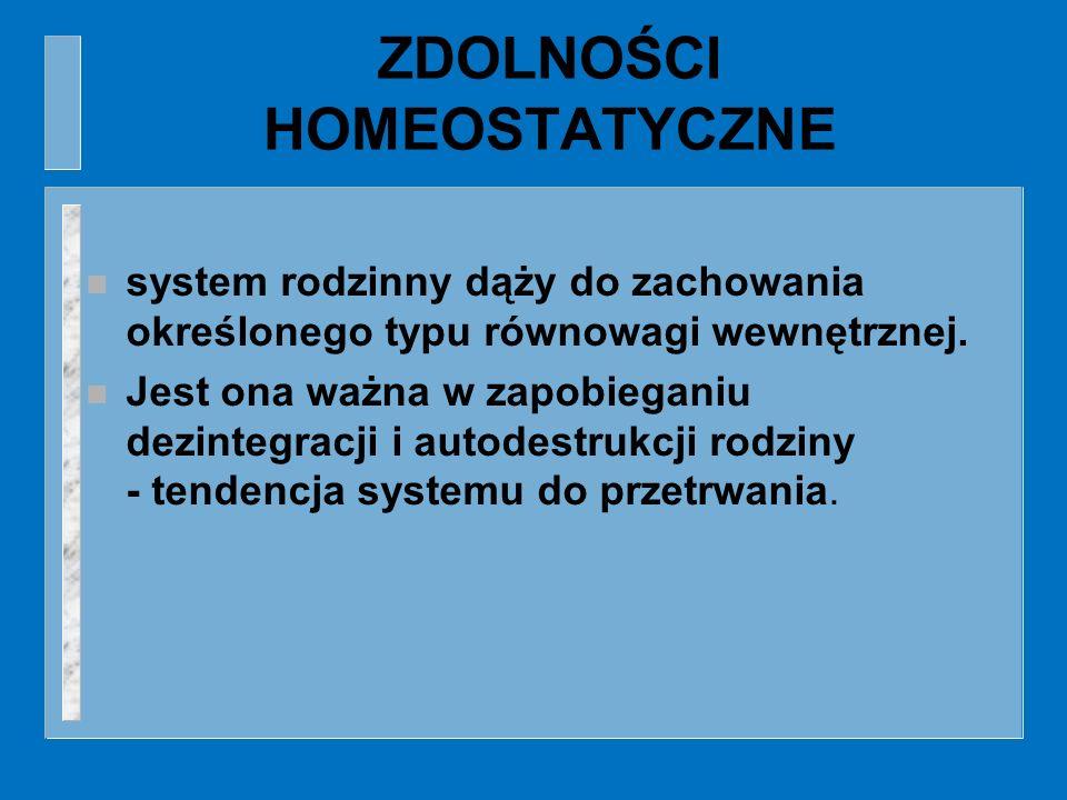 ZDOLNOŚCI HOMEOSTATYCZNE n system rodzinny dąży do zachowania określonego typu równowagi wewnętrznej. n Jest ona ważna w zapobieganiu dezintegracji i