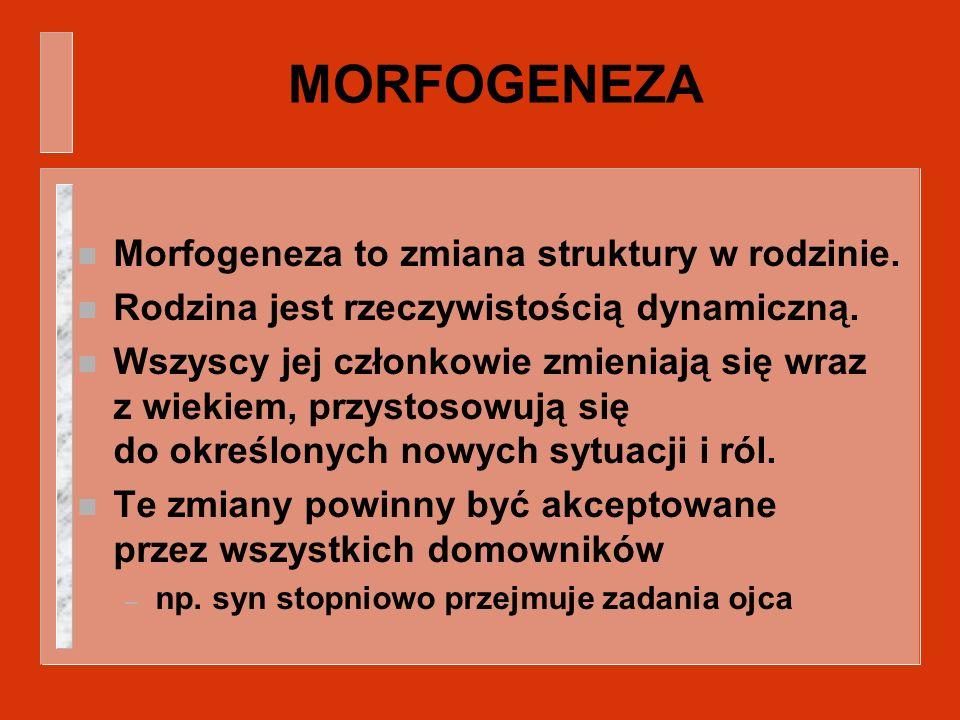 MORFOGENEZA n Morfogeneza to zmiana struktury w rodzinie. n Rodzina jest rzeczywistością dynamiczną. n Wszyscy jej członkowie zmieniają się wraz z wie