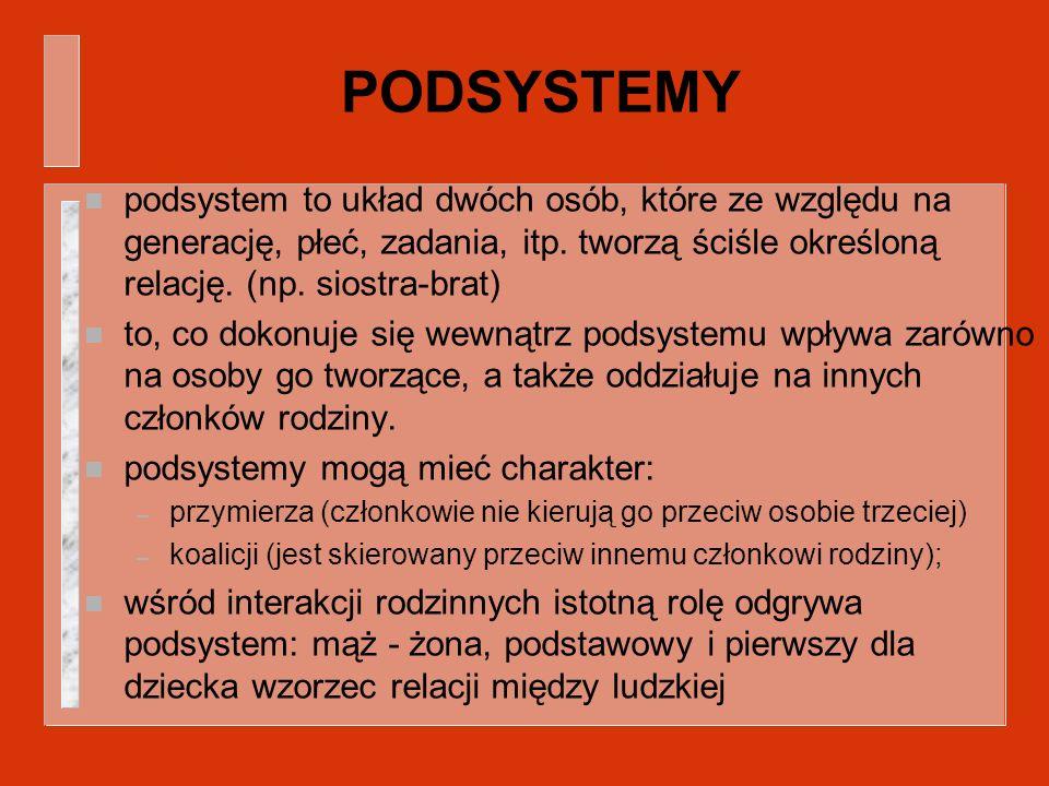 PODSYSTEMY n podsystem to układ dwóch osób, które ze względu na generację, płeć, zadania, itp. tworzą ściśle określoną relację. (np. siostra-brat) n t