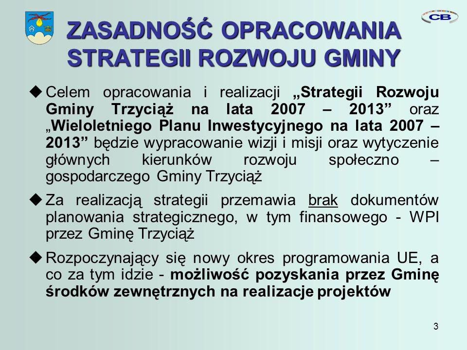 3 ZASADNOŚĆ OPRACOWANIA STRATEGII ROZWOJU GMINY Celem opracowania i realizacji Strategii Rozwoju Gminy Trzyciąż na lata 2007 – 2013 orazWieloletniego Planu Inwestycyjnego na lata 2007 – 2013 będzie wypracowanie wizji i misji oraz wytyczenie głównych kierunków rozwoju społeczno – gospodarczego Gminy Trzyciąż Za realizacją strategii przemawia brak dokumentów planowania strategicznego, w tym finansowego - WPI przez Gminę Trzyciąż Rozpoczynający się nowy okres programowania UE, a co za tym idzie - możliwość pozyskania przez Gminę środków zewnętrznych na realizacje projektów