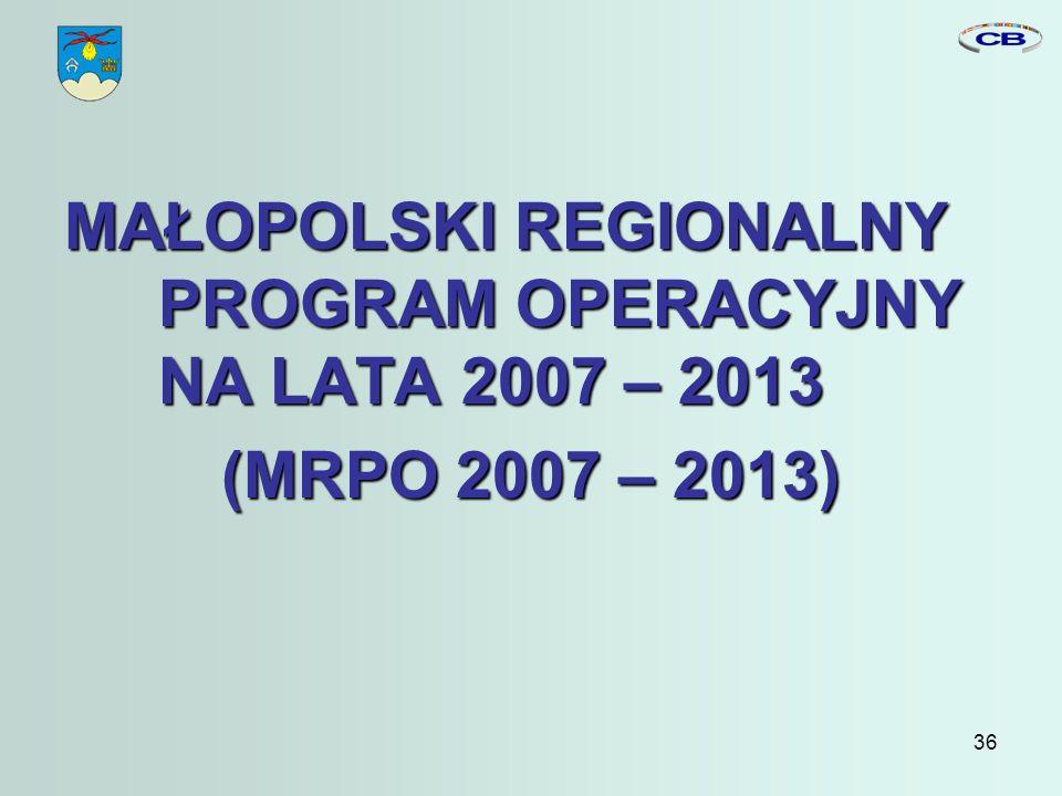 36 MAŁOPOLSKI REGIONALNY PROGRAM OPERACYJNY NA LATA 2007 – 2013 (MRPO 2007 – 2013)