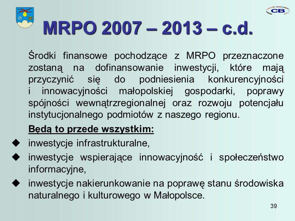 39 MRPO 2007 – 2013 – c.d.
