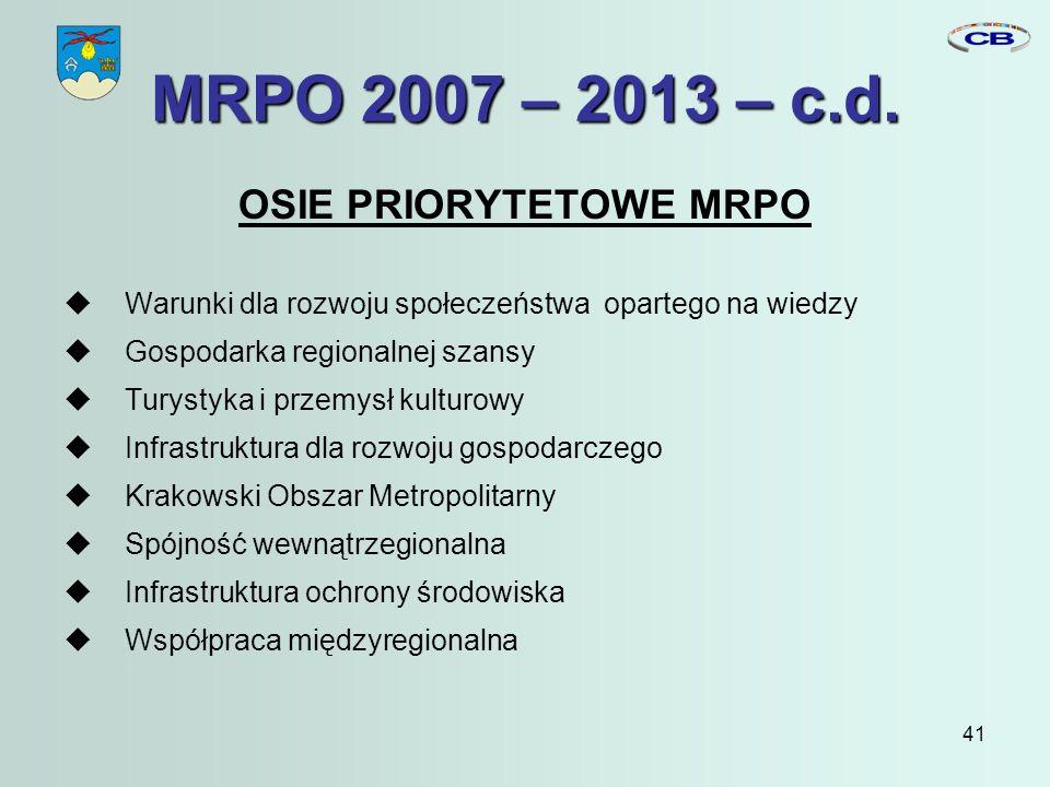 41 MRPO 2007 – 2013 – c.d.