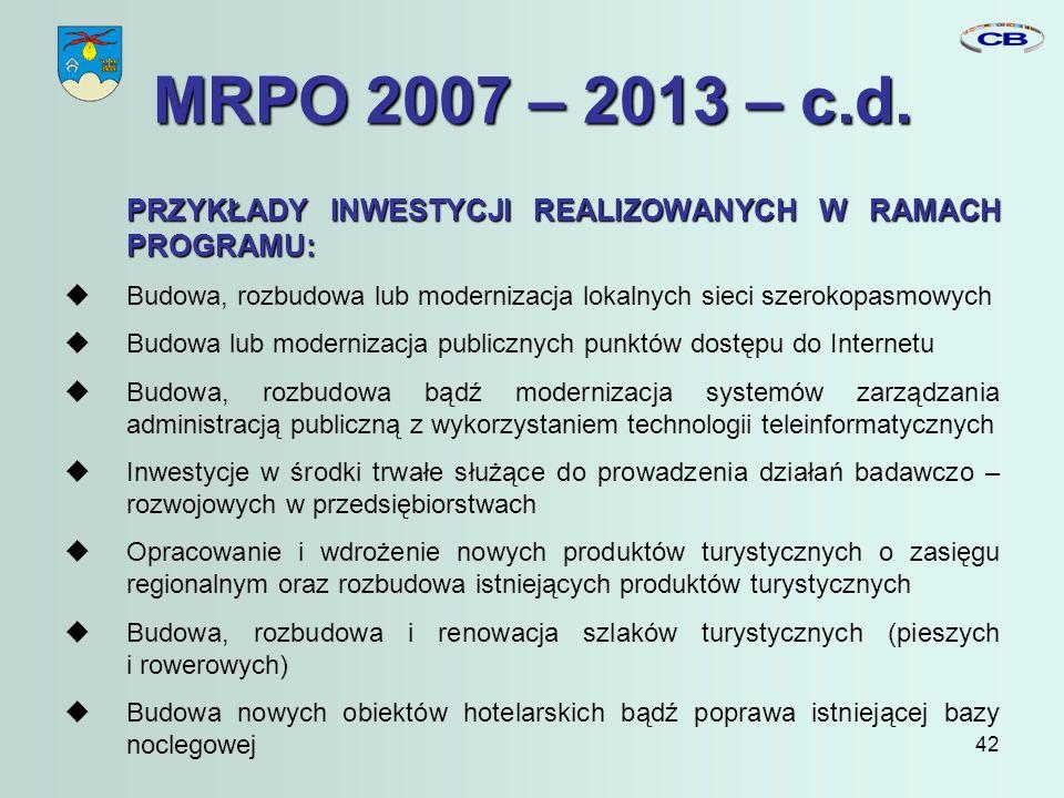 42 MRPO 2007 – 2013 – c.d.