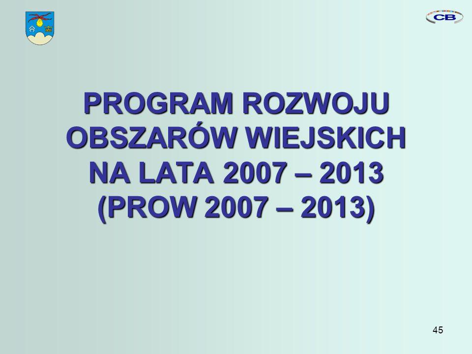 45 PROGRAM ROZWOJU OBSZARÓW WIEJSKICH NA LATA 2007 – 2013 (PROW 2007 – 2013)