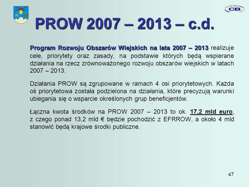 47 PROW 2007 – 2013 – c.d.