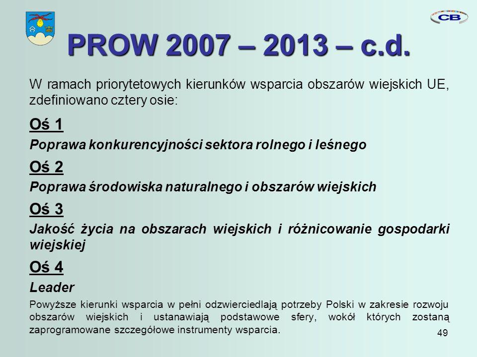 49 PROW 2007 – 2013 – c.d.
