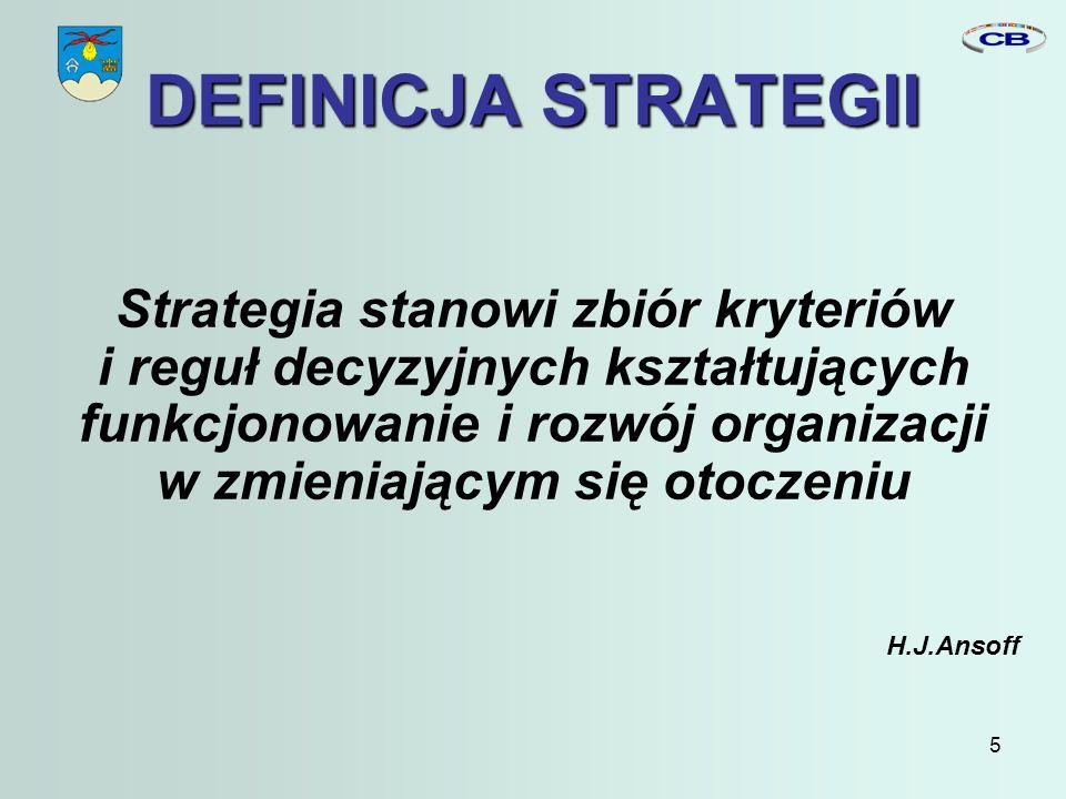 5 DEFINICJA STRATEGII Strategia stanowi zbiór kryteriów i reguł decyzyjnych kształtujących funkcjonowanie i rozwój organizacji w zmieniającym się otoczeniu H.J.Ansoff