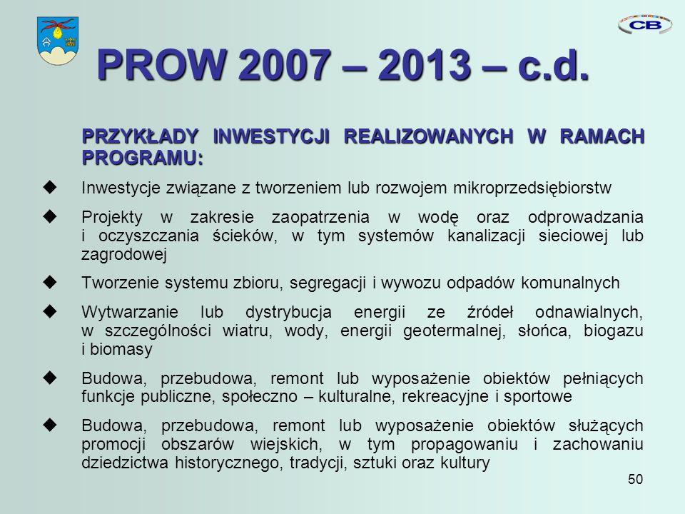 50 PROW 2007 – 2013 – c.d.