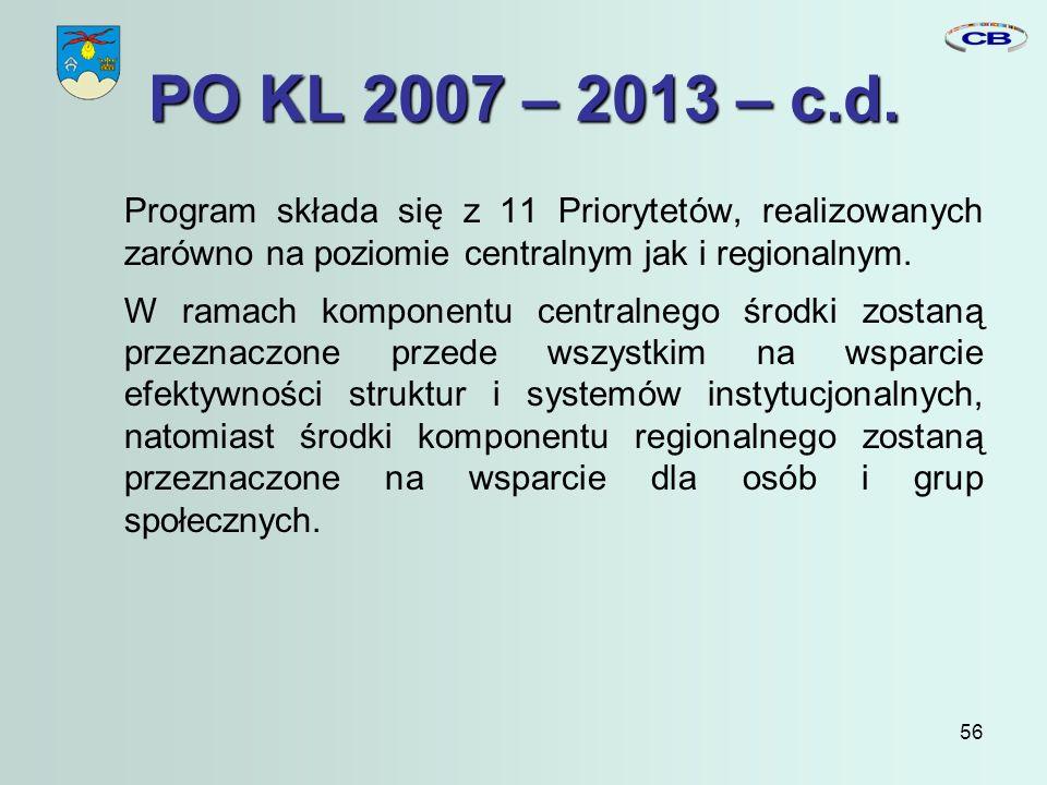 56 PO KL 2007 – 2013 – c.d.