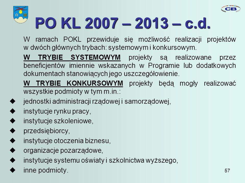 57 PO KL 2007 – 2013 – c.d.